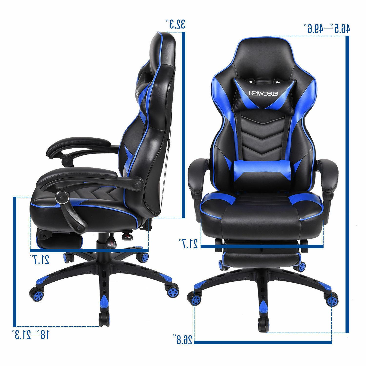 ELECWISH Office Gaming Chair Footrest Racing Recliner Seat
