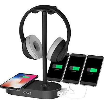 qi headphone stand usb charger gaming headset