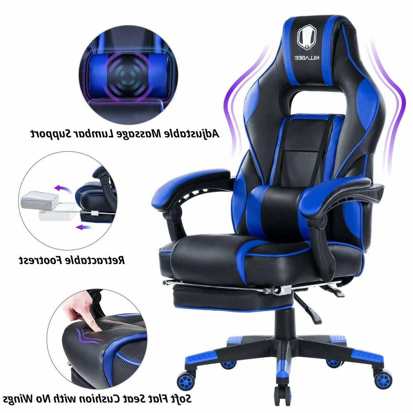 reclining memory racing gaming office chair retractable