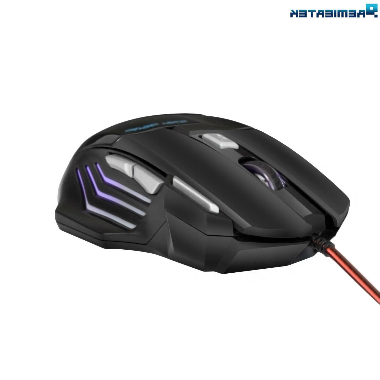 Gaming Mouse USB Wired LED Fire Button Laptop PC