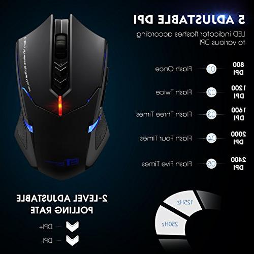 PICTEK Silent Buttons, 2.4G Computer Gaming Mouse Laptop USB Mice, Advanced 2400 Grips, Black