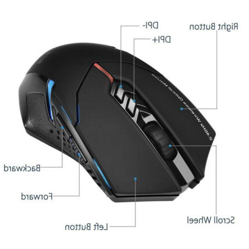 Wireless Gaming Mouse w/ Unique Silent Click 2400 DPI for Laptop