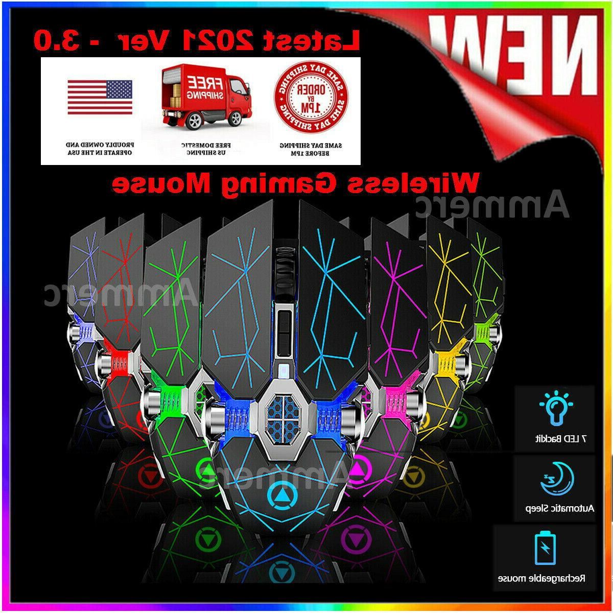 wireless mouse gaming 7 color led gaming