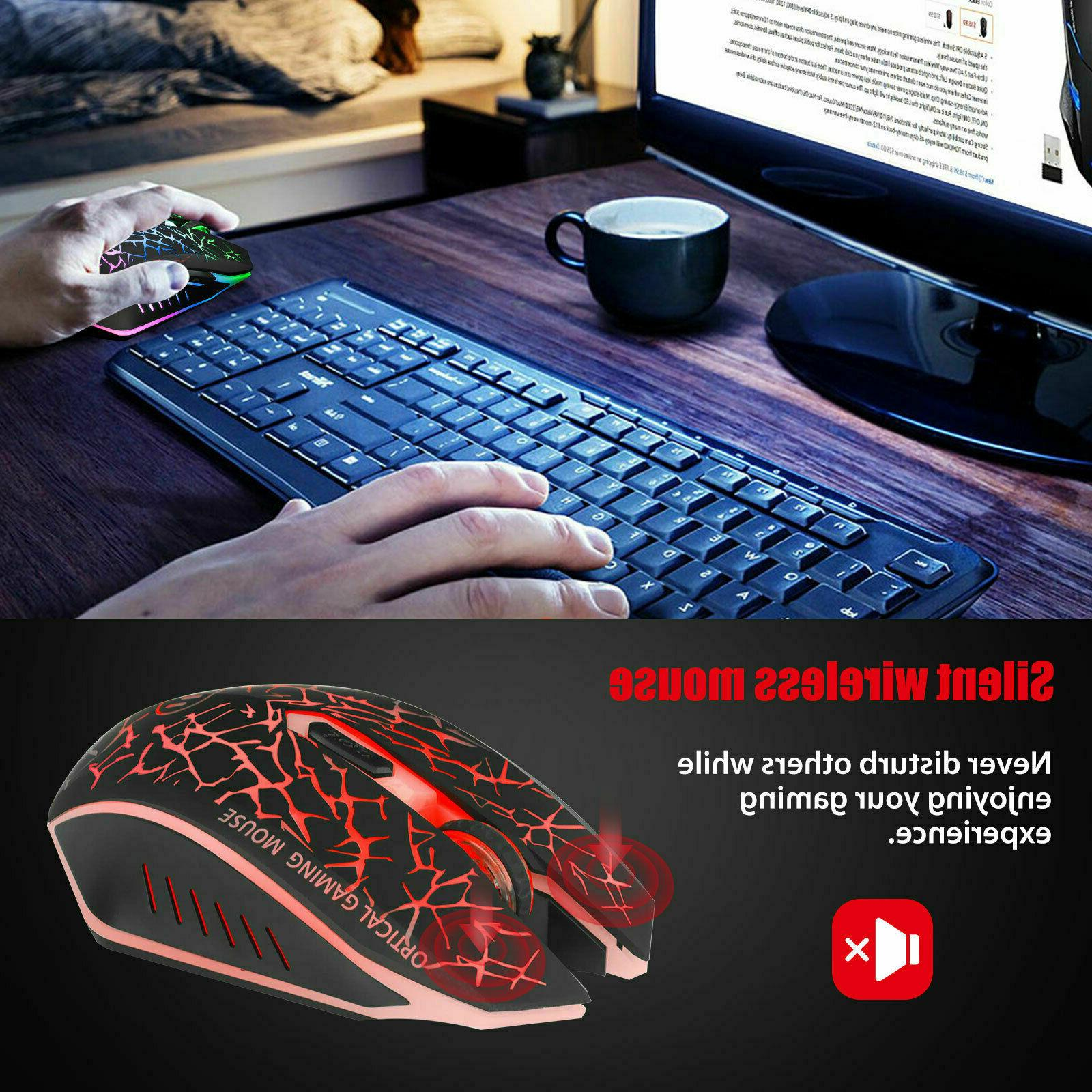 Wireless USB Gaming Mouse 7 Color LED Backlit Rechargeable PC