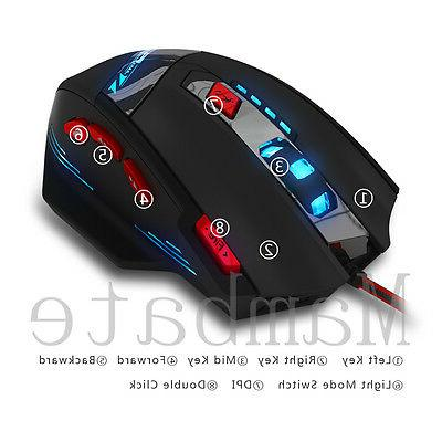 Zelotes Computer Mouse 8000 DPI 8 Button USB Light Optical Wired Mice