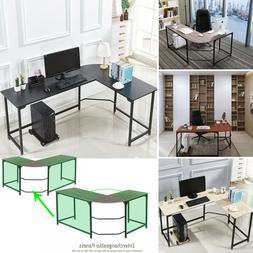 L-Shaped Corner Computer Gaming Desk Wood Steel Laptop Table