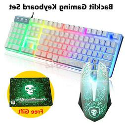 LED Backlit Gaming Keyboard Mouse Set Rainbow Mechanical Fee