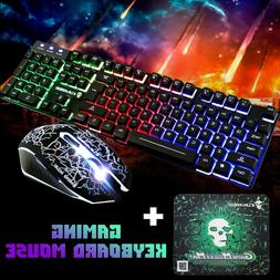 T6 Rainbow Backlight Usb wired Gaming Keyboard and Mouse Set