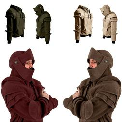 Men Vintage Long Sleeve Mask Elbow Button Pullover Hooded Sw