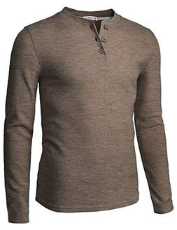H2H Mens Casual Henley Long Sleeve Waffle Cotton T-Shirts HE