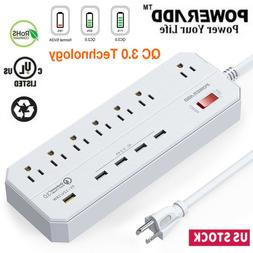 7 Outlet 5 USB Port Heavy Duty Power Strip Surge Protector w