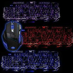 Multi-Colored Gaming  Backligh Keyboard and Mouse Set LED 55