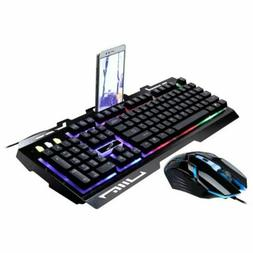 RGB Colorful LED Backlit Wired Gaming Computer PC Keyboard M