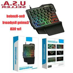One-Handed Accessories Gaming Keyboard, RGB Led Backlit USB