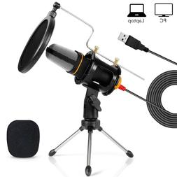 Tonor Pro Condenser Microphone 3.5mm USB w/Tripod Stand for