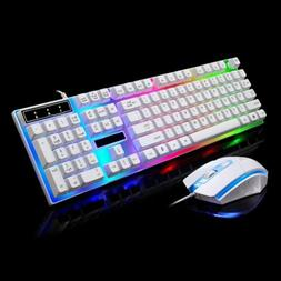 Pro Gaming Wired Keyboard Mouse Combo Colorful LED Backlit C