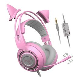 PS4 Gaming Headset Grils Pink Cat Stereo with Mic for PC/Xbo