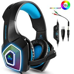 PS4 Headset,Xbox One Headphones,Gaming Headset with LED ligh