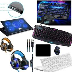 Rainbow Backlight USB Gaming Keyboard Mouse Headset For PC L