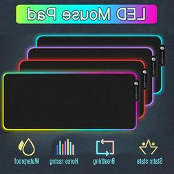 RGB Colorful LED Lighting Gaming Mouse Pad Keypad Mat For PC