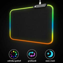 RGB Colorful LED Lighting USB Wired Keyboard Mat Gaming Mous
