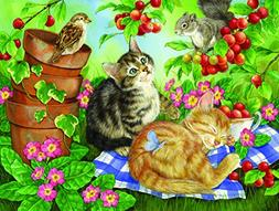 Under the Cherry Tree - Cat Puzzle - 500 pc Jigsaw Puzzle by
