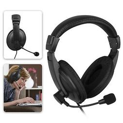 US Wired Gaming Stereo Earphone Headset Headphone Mic For PC