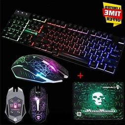 US Wired T6 LED Backlit USB Gaming Keyboard + 2400DPI Gamer