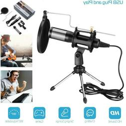 USB Condenser Microphone Tripod Stand for Game Chat Studio R