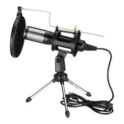 USB Condenser Microphone w/ Tripod Stand For Game Chat Audio