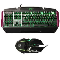 USB LED Light Gaming Keyboard and Mouse Combo Set for PC Com