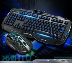 USB LED Light Gaming Keyboard and Mouse Set Kit for Computer