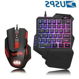 One Single Hand Gaming Keyboard USB Wired PC Gaming RGB Keyp