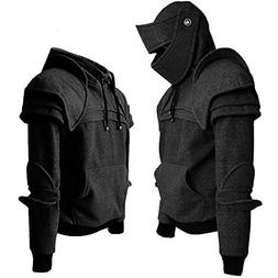 Men 's Vintage Mask Elbow Button Pullover Long Sleeve Hooded
