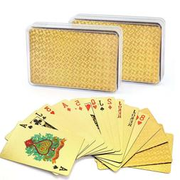 Waterproof 24K Gold Playing Cards Poker Collection Plastic D