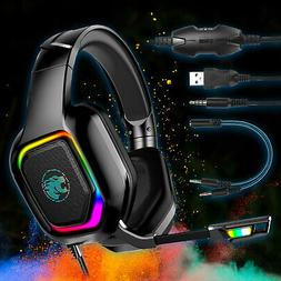 Wired LED Gaming Headset Stereo Headphone Bass Surround MIC