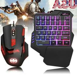 Wired One-Handed Gaming Keyboard Keypad 6800DPI Game Mouse C
