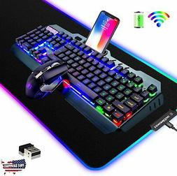 Wireless Gaming Keyboard and Mouse Combo,3 in 1 Rainbow LED