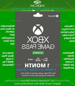Xbox Live Gold + Game Pass  1 Month  Code Instant Delivery